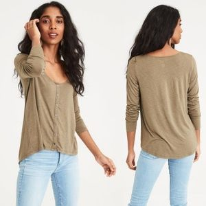 AE Soft & Sexy Knit Button Up Shirt